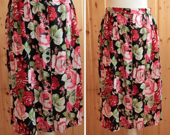 Vintage 1980s / / pleated MIDI skirt with flowers / / summer skirt / / size S / /.
