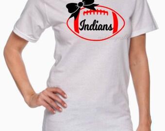 Football Monogram Shirt // Team Spirit Shirt // Custom Shirt // Football Mom // Monogram Football with Bow Shirt