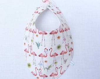 "bavoir foulard fille original 0/24 mois ""flamants rose"""