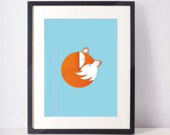 8x10 Fox Print, Cute Fox Illustration, Fox Nursery Print, Cute Animal Print, Animal Print, Animal Wall Art, Nursery Wall Art, Nursery Decor