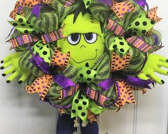 Halloween Frankenstein mesh plush wreath