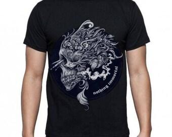Mens Skull Nothing Immortal Graphic - Black T-shirt