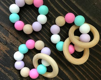 Baby Teether Toy - Wooden Teether - Silicone Teether - Silicone Beads - Rattle - Teething Ring