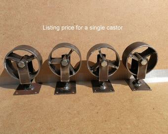 Industrial furniture metal castors casters with cast iron caster wheel vintage 7,5 cm