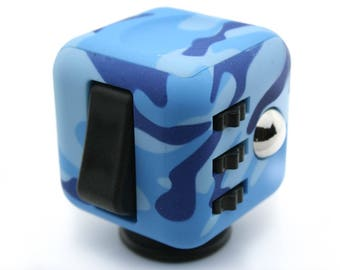Fidget Cube Blue Camo Six Sided Fidgets Toy For Relief from Stress, Anxiety, ADHD, ADD and Boredom