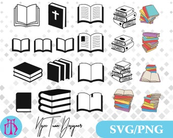 Books svg,png/Books clipart for Print,Design,Silhouette,Cricut and any more