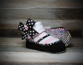 Genuine Swarovski Crystal Baby Shoe/Booties with Matching Polka Dot Crystal Headband