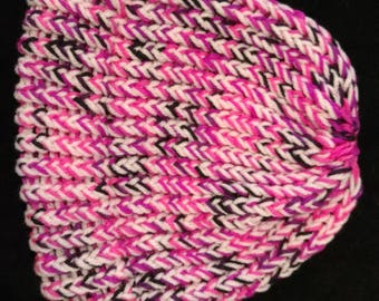 Pink and purple knitted cap