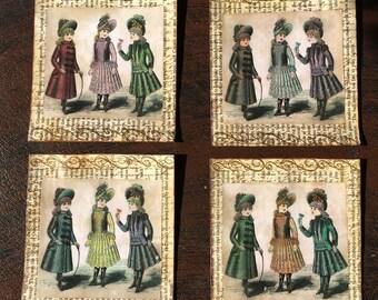 4 Vintage Pockets for Junk Journals