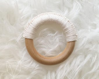 Crochet Wooden Teether Ring Natural Rattle Sensory Wood Baby Natural Parenting Waldorf Montessori Eco-friendly Gift Shower Non-toxic Organic