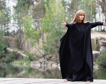 Long sleeves maxi cotton dress with a tunic, black maxi dress, long loose dress, oversize dress, boho dress