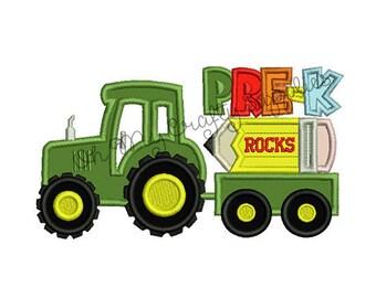 Pre-K Rocks Tractor Applique Embroidery Design