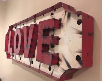 Reclaimed Airplane Steel LOVE Artwork Wall Hanging