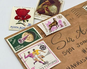 5 used vintage Romania vintage postage stamps | Perfect for scrapbooking, stamp collecting, snail mail art, and crafting
