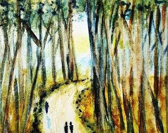 Tree Walk 5x7 ORIGINAL Watercolor Greeting Card