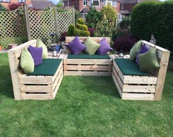 Dunston Range Of Wooden Outdoor Garden Furniture   Pallet Style
