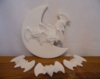 Ceramic Bisque Ready to Paint Bats and Moon Insert