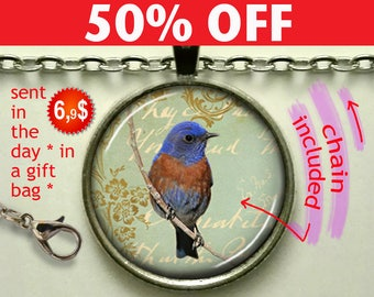 Bluebird Collage pendant. bluebird necklace bird lover gift bluebird jewellery bluebird jewelry bluebird keychain key chain N544