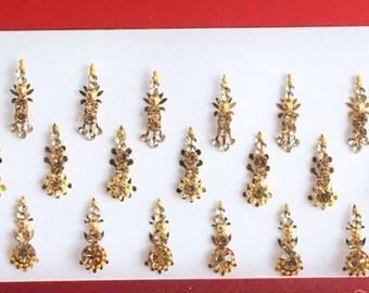35 Gold Antique Long Bollywood Bindis,Bridal Long Bindis Sticker Packet,Stone Bindi,Gold Bindis Face Jewels,Body Art Glittery Bindi