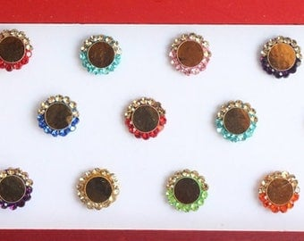 Round Bindi With Stones,Velvet Indian Bindi Fashion Design UK,Colorful Bindis,Face Bindis Jewels,Bollywood Bindis,Self Adhesive Stickers