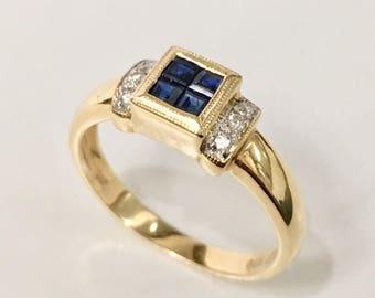 14K Gold Blue Sapphire-Diamond Ring