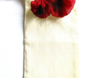 CHEAP discontinued - Gift - great mother-glasses case in ecru cotton, customized silky chiffon, Burgundy flowers.