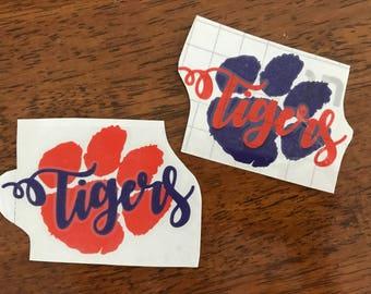 Clemson Tiger Decal, Clemson Tigers, Graduation Gift, Clemson, Orange and Purple, Car Decal