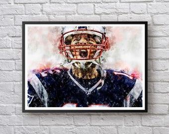 Tom Brady Poster, New England Patriots Football Print Sports Art Print, Football Home Decor, Watercolor Art, Canvas Art Print, Man Cave