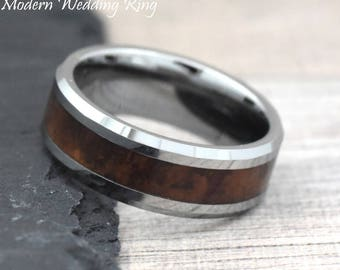 wood wedding ring tungsten 8mm tungsten wedding ring mens mens wood wedding band - Wedding Ring For Him
