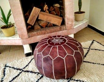 Moroccan Pouf // Handmade Leather pouf // Leather Ottoman  // 100 % Handmade // Genuine Leather // DARK BROWN