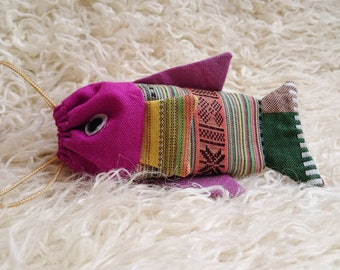 coin, jewelry, comestic purse/ pouch_fish_traditional brocade, ethnic brocade, embroidery
