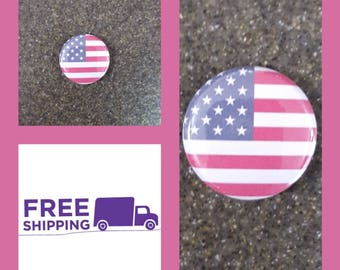 "1"" American Flag Button Pin or Magnet, FREE SHIPPING & Coupon Codes"
