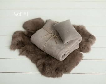 Brown Newborn Photo Props Set,Beanbag Backdrop,Natural rabbit fur,Newborn pillow,Newborn photography props,Posing fabric,Newborn props