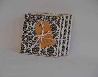 Slate Motif ceramic tile coasters