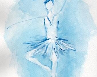 Blue Ballerina [020] Original, Prints, and Cards