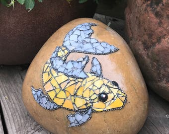 Mosaic Garden Art Rock - Fish