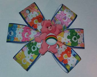 Handmade Care Bear accessory, clip, hair bow, rosette.