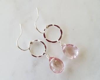 Rare Pink Quartz Faceted Drop Earrings