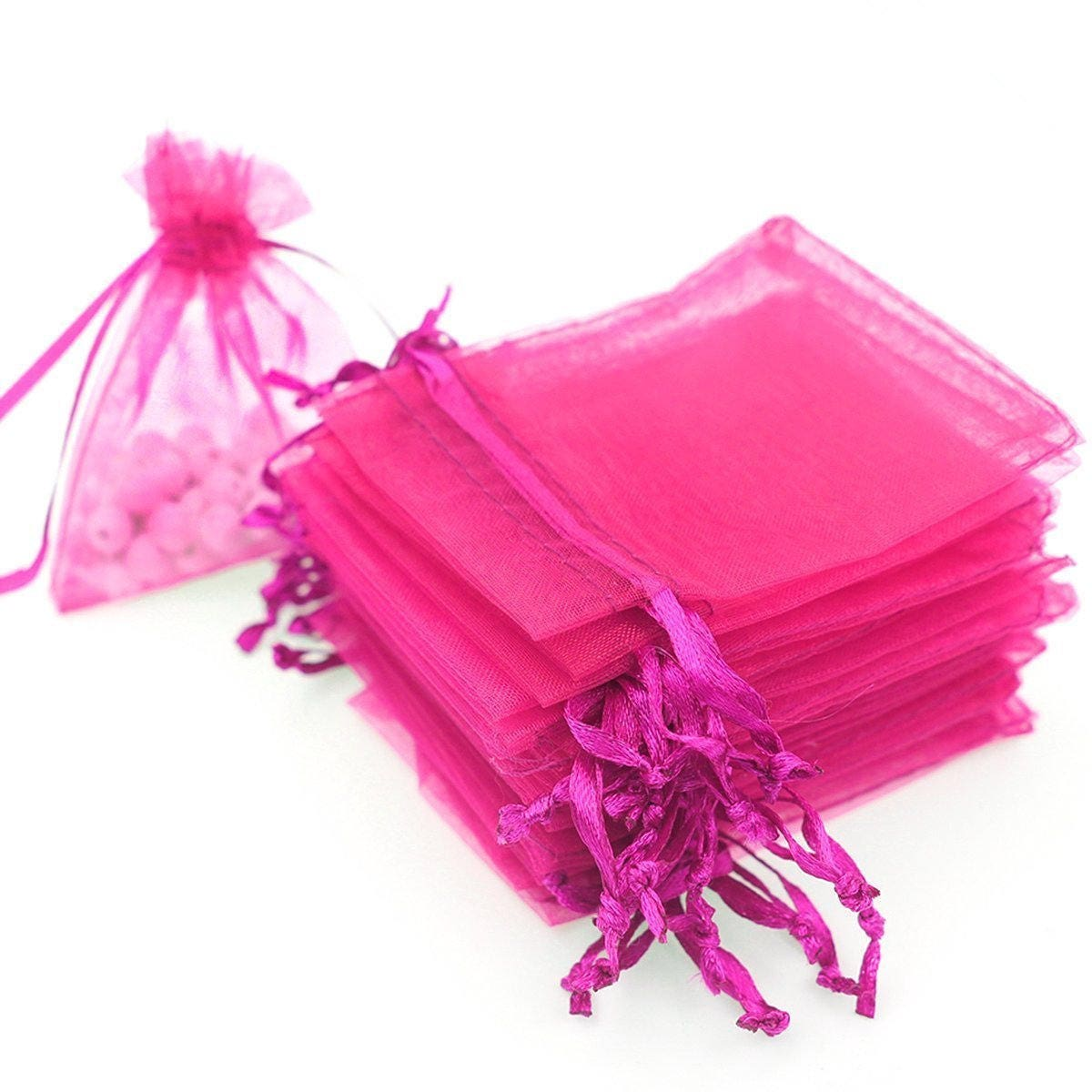 50 Hot Pink Organza Bags 3x4 Inch Sheer Fabric Wedding Favor