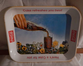 Vintage Coca Cola, Coke Refreshes You Best, metal tray