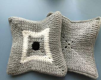 Black, grey, white potholders, set of 2, crochet