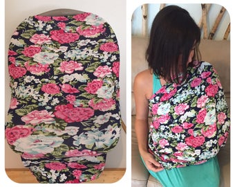Stretchy 4-in-1 Baby Nursing Cover, Car Seat Canopy, Shopping Cart, & Highchair Cover