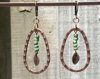 Antique Copper Earrings Dangle Earrings Bohemian Earrings Turquoise Earrings Leaf Earrings Earthy Earrings Boho Jewelry Gypsy Jewelry
