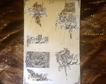 Henna & Jagua(1A) Tattoo Stencils on Vegan Purple Carbon Thermal paper for Birthdays, Weddings, Beginners and Professionals