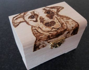 Dog stylised wooden treasure chest gift jewellery box - can be personalised on request.