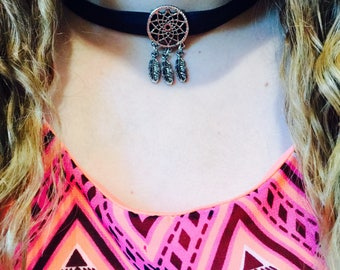 Silver Dreamcatcher with Black Faux Leather choker
