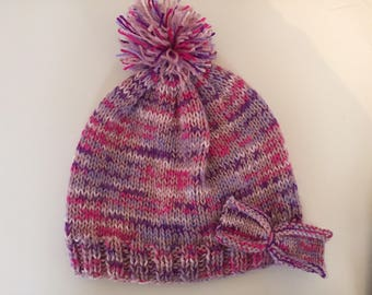 Pink and purple girls beanie