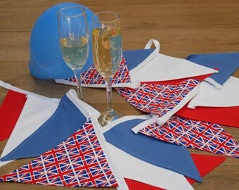 Red White and Blue Union Jack Bunting, British Flag Bunting, Patriotic Garden Party Decorations Bunting Fabric Bunting UK Bunting