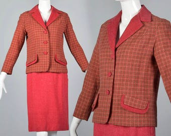Small 1960s Pink Skirt Separates Matching Jacket Vintage 60s Wool Tweed Skirt Suit Boxy Cut Covered Buttons
