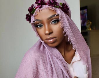 Mauve Rippled Hijab